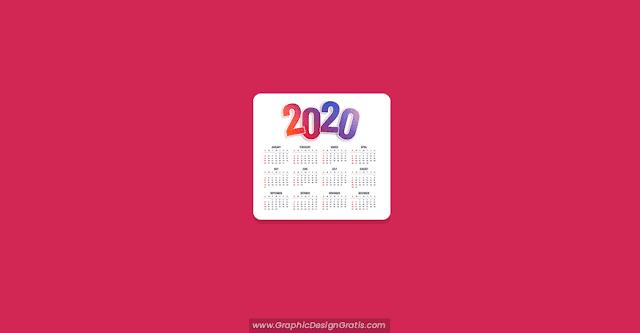 calendario 2020 editable con estilo degradado gratis