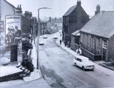 Castleford, Yorkshire: Church Street at the end of Bradley Avenue, early 1970s