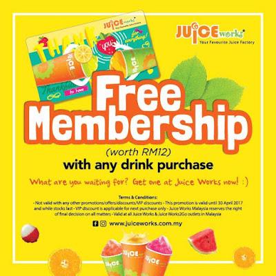 Free Juice Works Malaysia VIP Membership Promo
