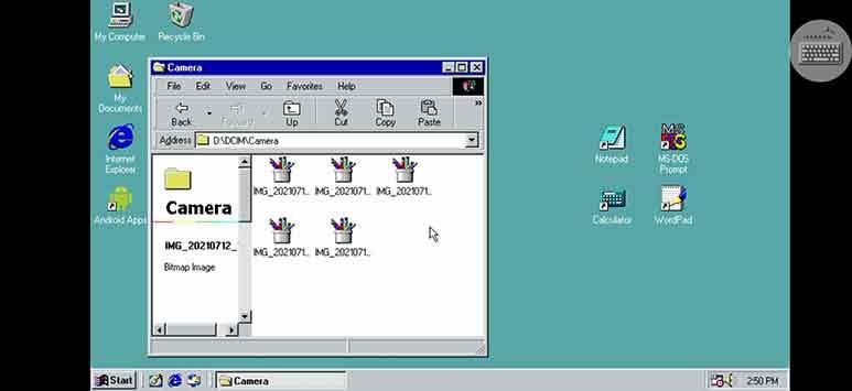 किसी भी एंड्राइड फ़ोन में माइक्रोसॉफ्ट विंडोज 98 चलाये।