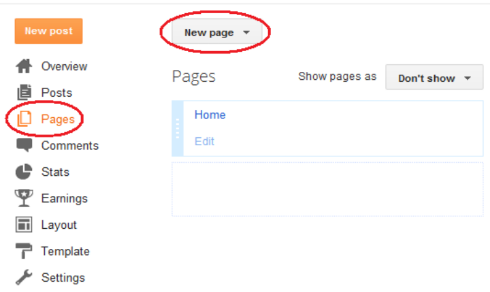 """New page"""" this will open a Page editor"""