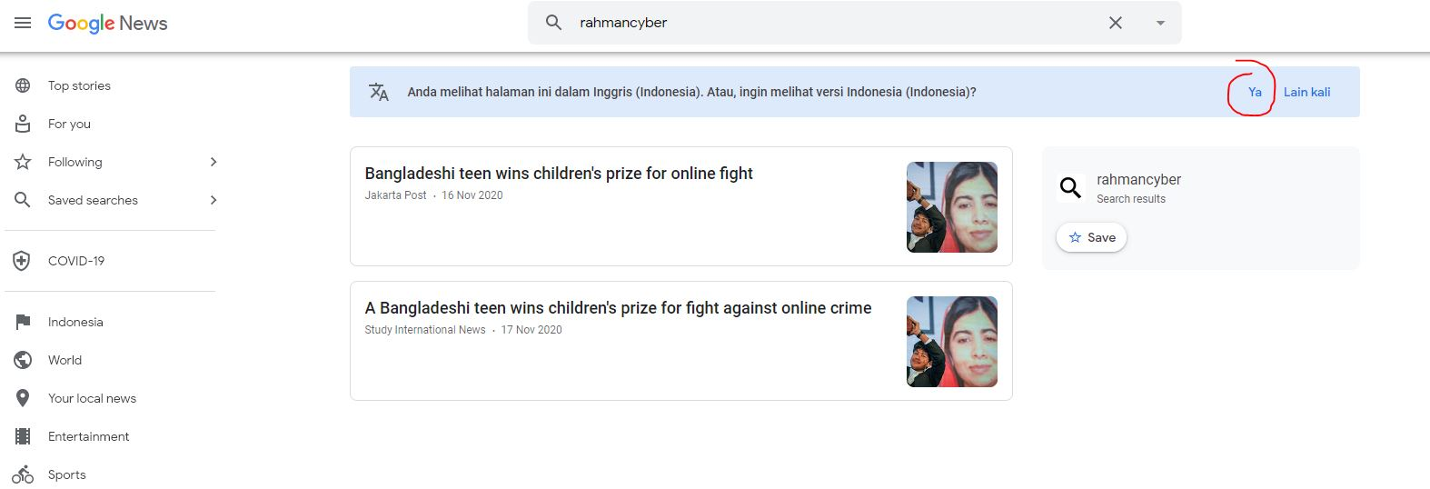 Pencarian Google News