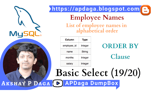 HackerRank: [Basic Select - 19/20] Employee Names |  ORDER BY in SQL