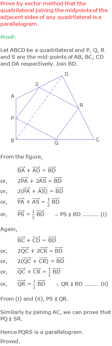 """Prove by vector method that the quadrilateral joining the midpoints of the adjacent sides of any quadrilateral is a parallelogram. Proof: Let ABCD be a quadrilateral and P, Q, R and S are the mid-points of AB, BC, CD and DA respectively. Join BD. From the figure, (""""BA"""" ) ⃗ + (""""AD"""" ) ⃗ = (""""BD"""" ) ⃗ or,2(""""PA"""" ) ⃗ + 2(""""AS"""" ) ⃗ = (""""BD"""" ) ⃗ or,2((""""PA"""" ) ⃗ + (""""AS"""" ) ⃗) = (""""BD"""" ) ⃗ or,(""""PA"""" ) ⃗ + (""""AS"""" ) ⃗ = """"1"""" /""""2""""  (""""BD"""" ) ⃗ or,(""""PS"""" ) ⃗ = """"1"""" /""""2""""  (""""BD"""" ) ⃗      ∴ PS ∥ BD ……….. (i) Again, (""""BC"""" ) ⃗ + (""""CD"""" ) ⃗ = (""""BD"""" ) ⃗ or,2(""""QC"""" ) ⃗ + 2(""""CR"""" ) ⃗ = (""""BD"""" ) ⃗ or,2((""""QC"""" ) ⃗ + (""""CR"""" ) ⃗) = (""""BD"""" ) ⃗ or,(""""QC"""" ) ⃗ + (""""CR"""" ) ⃗ = """"1"""" /""""2""""  (""""BD"""" ) ⃗ or,(""""QR"""" ) ⃗ = """"1"""" /""""2""""  (""""BD"""" ) ⃗      ∴ QR ∥ BD ………. (ii) From (i) and (ii), PS ∥ QR.  Similarly by joining AC, we can prove that PQ ∥ SR. Hence PQRS is a parallelogram. Proved."""