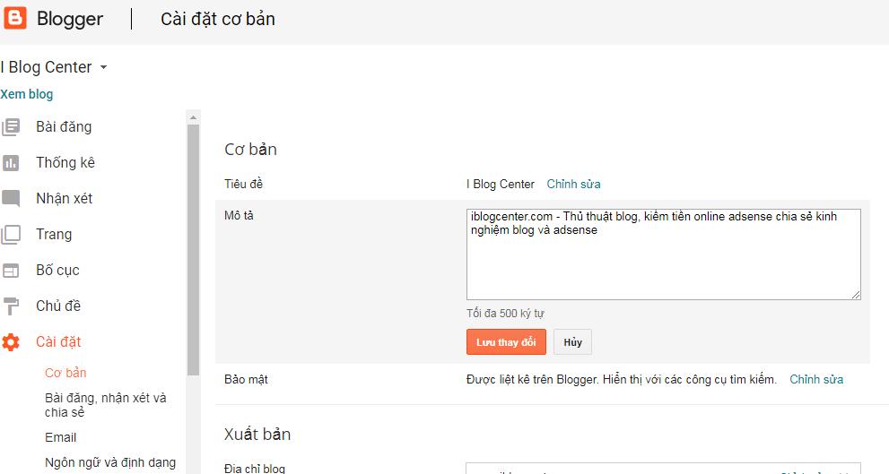 Hướng dẫn thiết lập blogspot chuẩn SEO google