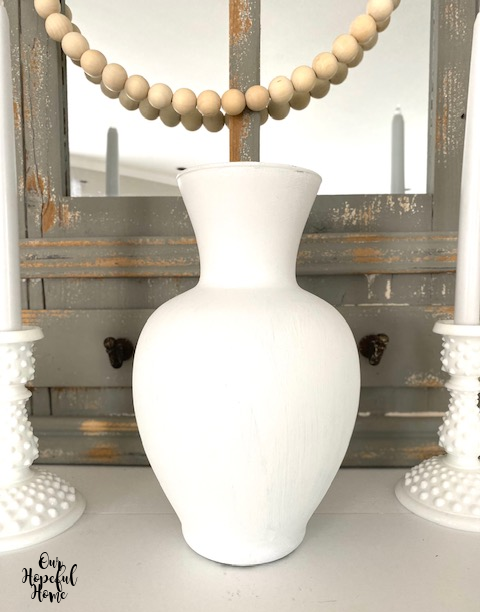 white painted glass vase