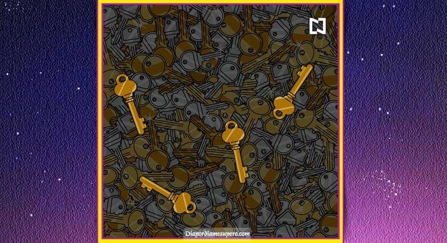 ¿Puedes ver las 4 llaves antiguas en esta imagen?