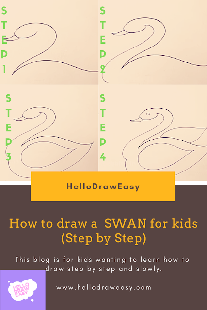 How to draw a SWAN for kids (Step by Step)