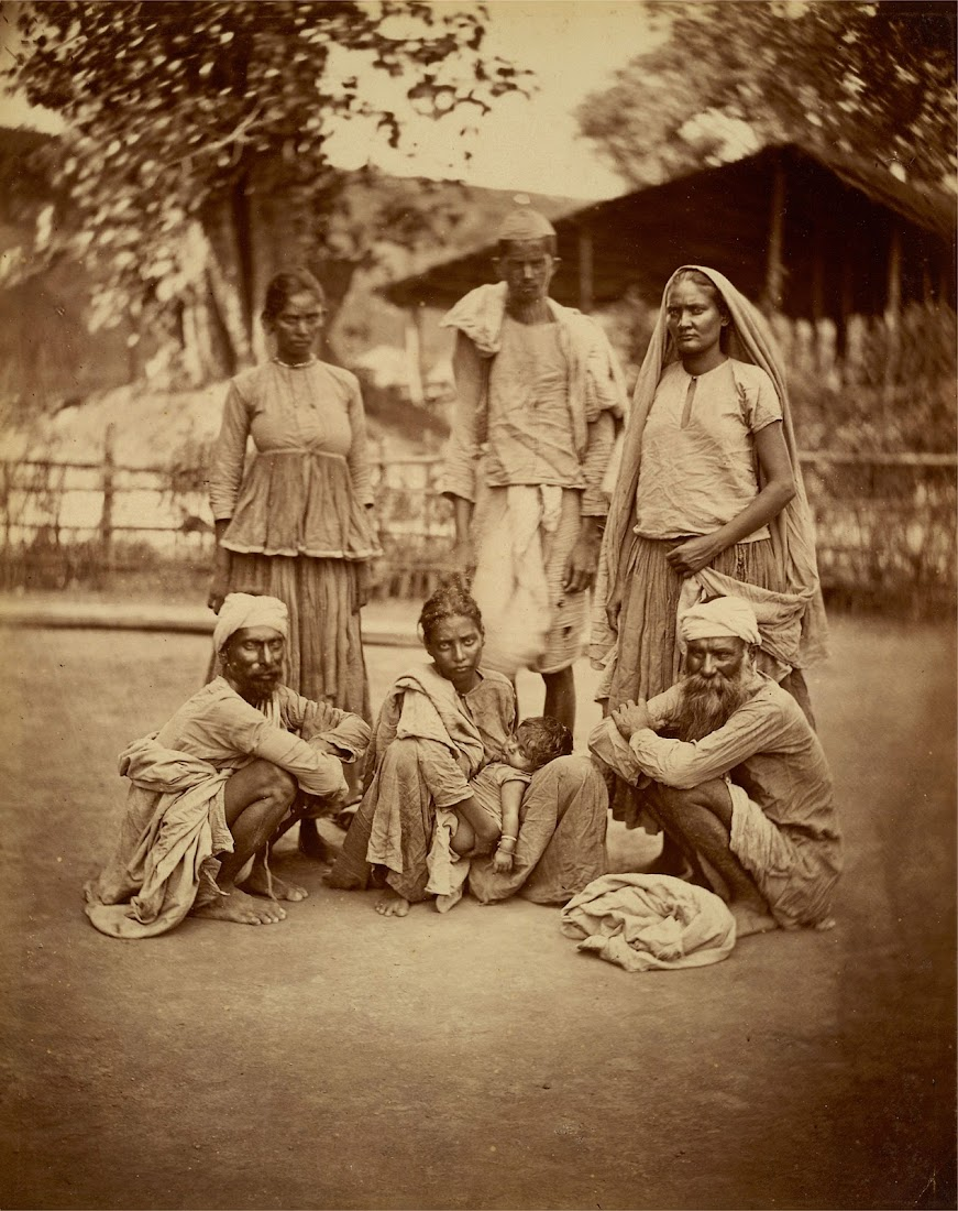 Group Photograph of Six Adults and a Baby - Eastern Bengal 1860's