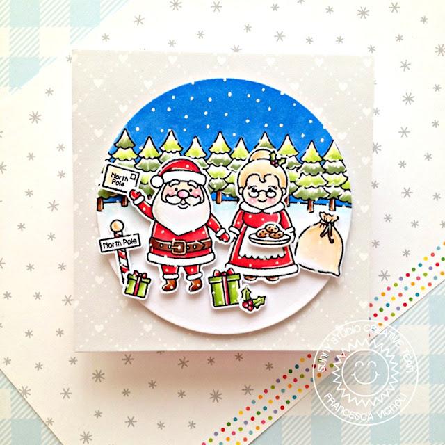 Sunny Studio Stamps: North Pole Winter Scenes Santa Claus Lane Winter Holiday Card by Franci Vignoli