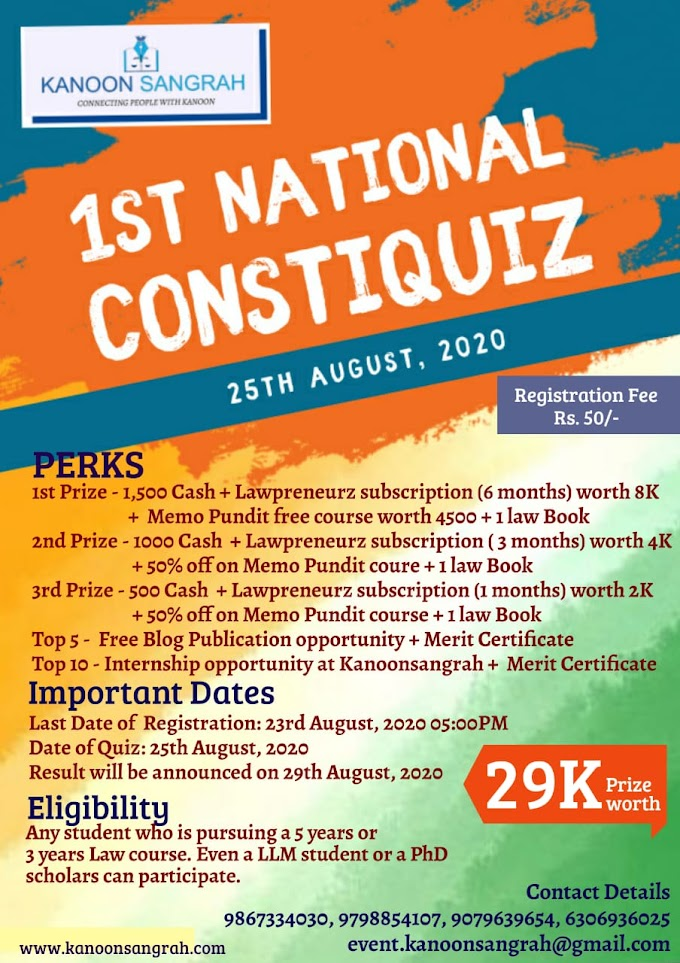 KANOONSANGRAH FIRST ONLINE CONSTITUTIONAL LAW QUIZ COMPETITION