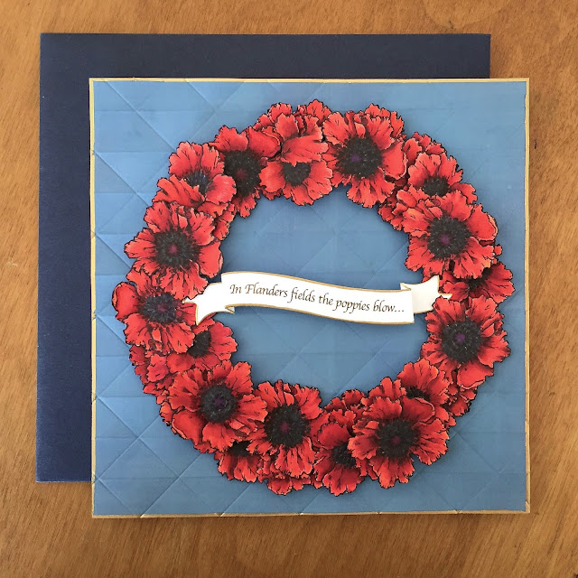 full front view of Memorial Day poppies wreath card with envelope.
