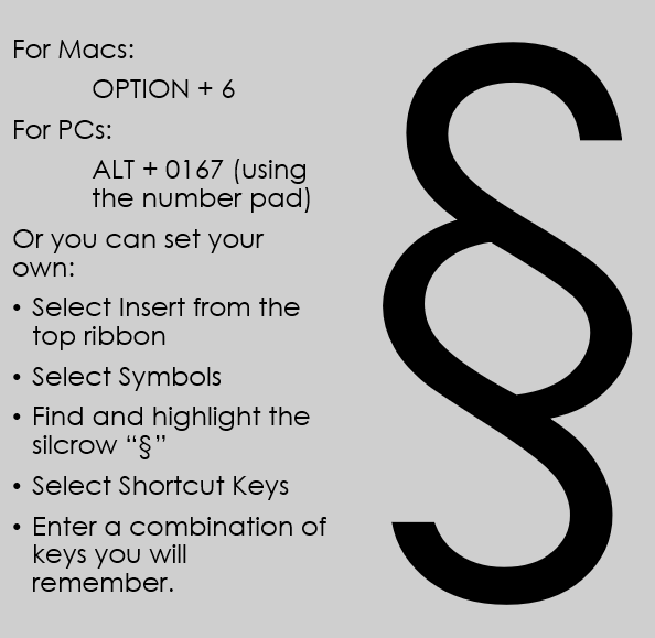 Elon Law Library Blog Keyboard Shortcut For The Silcrow Section