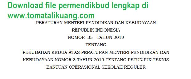 permendikbud nomor 35 tahun 2019; tomatalikuang.com