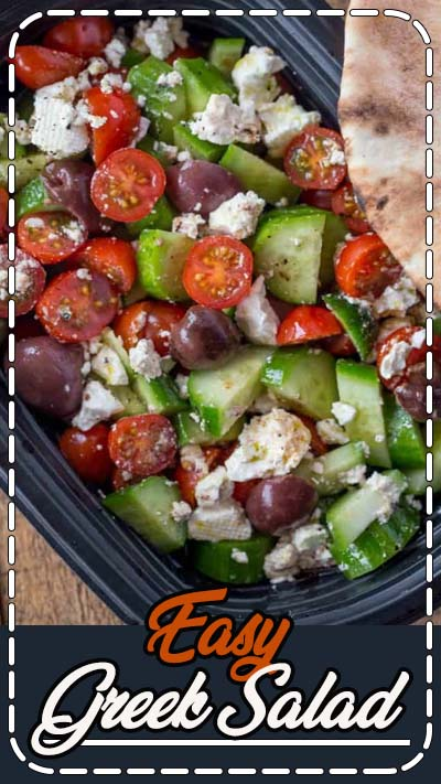Easy Greek Salad with cucumbers, grape tomatoes, feta cheese and kalamata olives with a lemony red wine vinaigrette dressing in just five minutes. #salad #greek #greeksalad #healthy #glutenfree #side #vegetarian #dinnerthendessert