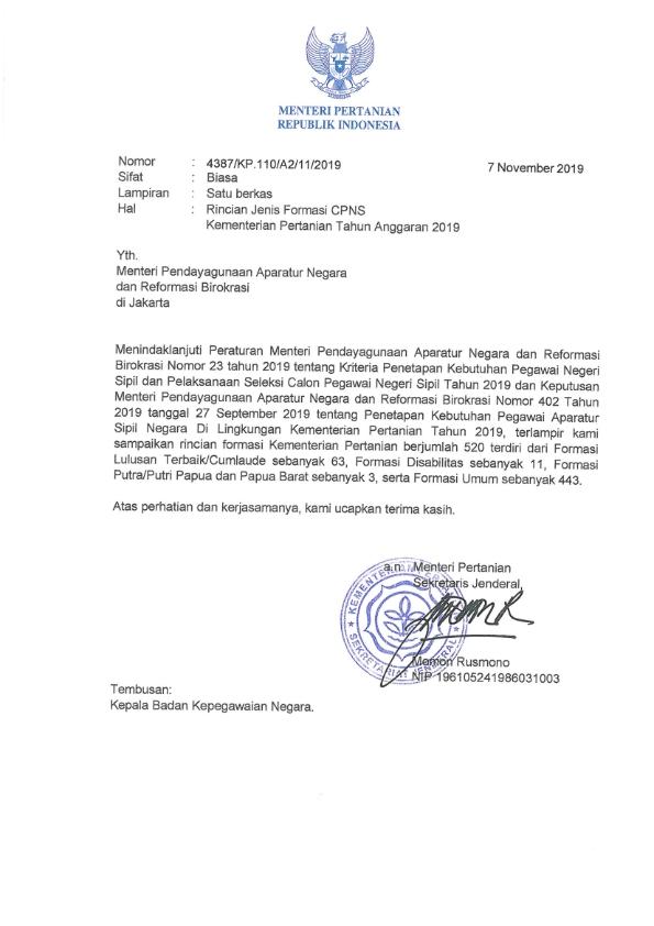 Penerimaan CPNS Kementerian Pertanian Republik Indonesia ...