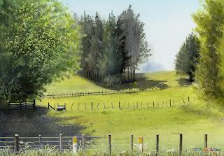 水彩画 「11.A.M」 ニュージーランドの放牧地でのひとこま。