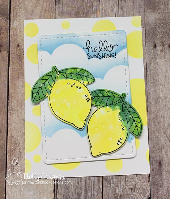 Hello Sunshine Lemon card by Holly Endress | Lemon Twist Stamp Set, Clouds Stencil and Bokeh Stencil Set by Newton's Nook Designs #newtonsnook #handmade