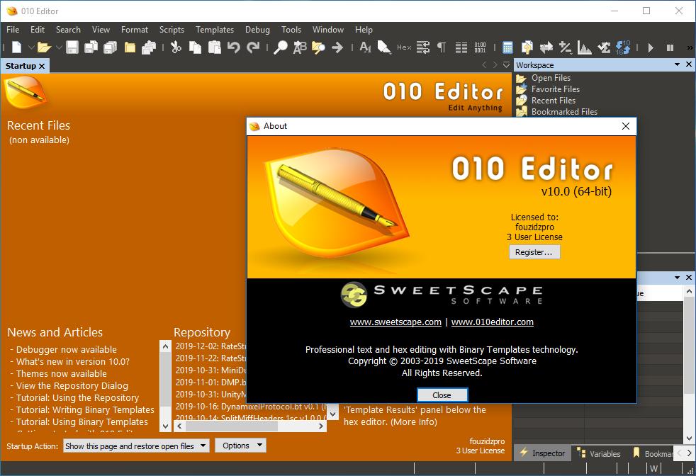 تحميل محرر نصوص قوي ومحترف SweetScape 010 Editor 10.0 كامل بسيريال التفعيل