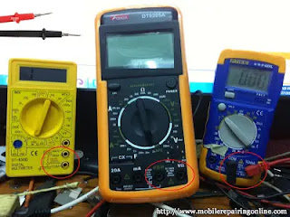 two probes specific positions in the digital multimeter to placed at a point written ohms and Com