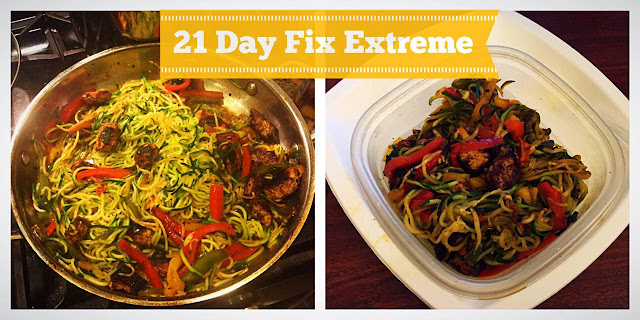 21 DFX Recipes. Cajun Zucchini Noodles, peppers and blackened chicken.