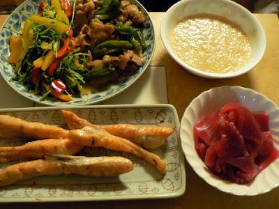 夕食の献立 献立レシピ 飽きない献立 ハラス焼き 豚バラ炒め 豆苗炒め マグロ 山芋