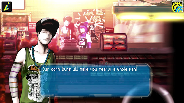 Screenshot of corn bun salesman in the game Sinless