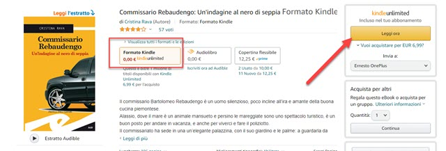kindle unlimited leggere libro