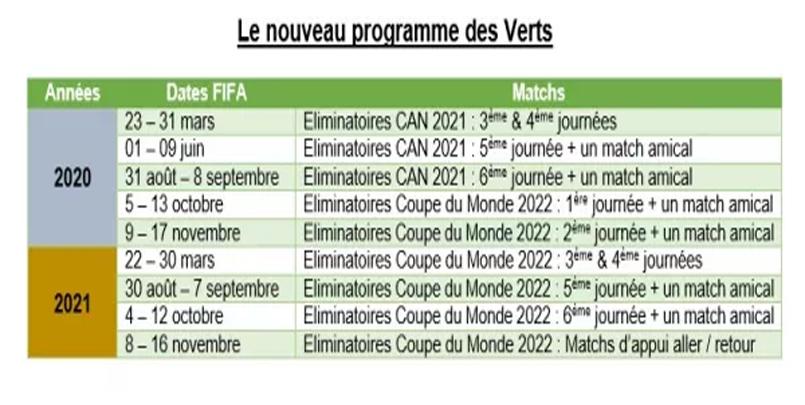 رزنامة منتخب الجزائري في 2020 و 2021