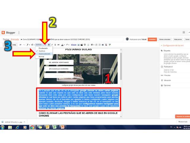 las metaetiquetas son de gran importancia en nuestras entradas así que nunca olvides seleccionar tus parrafos y colocarle el formato subencabezado esto colocar en nuestro código html la etiqueta H4