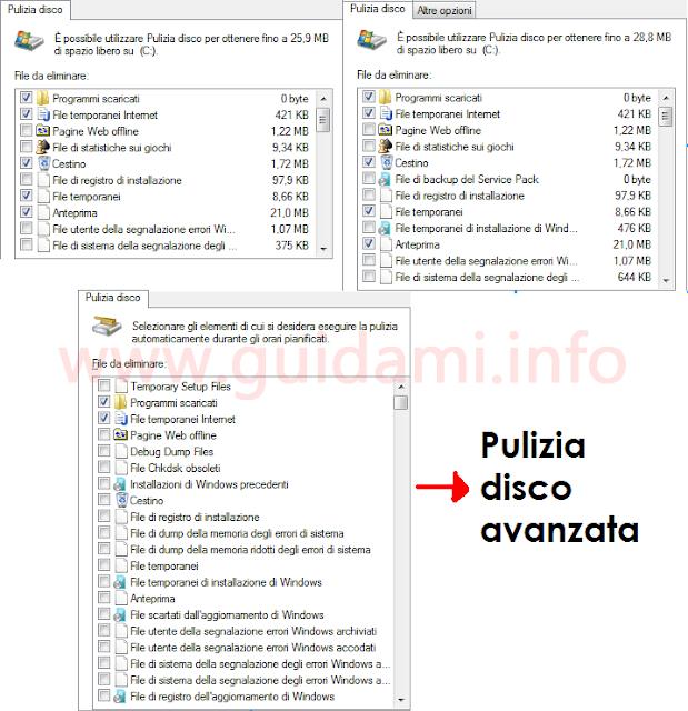 Strumento di pulizia disco di Windows confronto fra le tre versioni compresa la pulizia avanzata