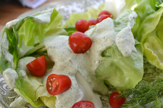 salad with homemade green goddess dressing