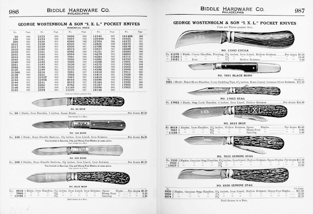George Wostenholm and Sons IXL Pocket Knife Models of 1910