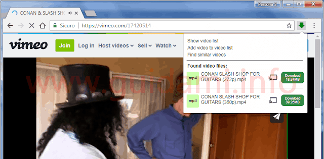 Estensione Chrome Video Downloader Professional lista video da scaricare