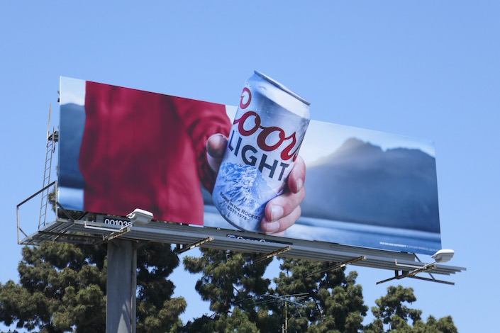 Coors Light cut-out can billboard