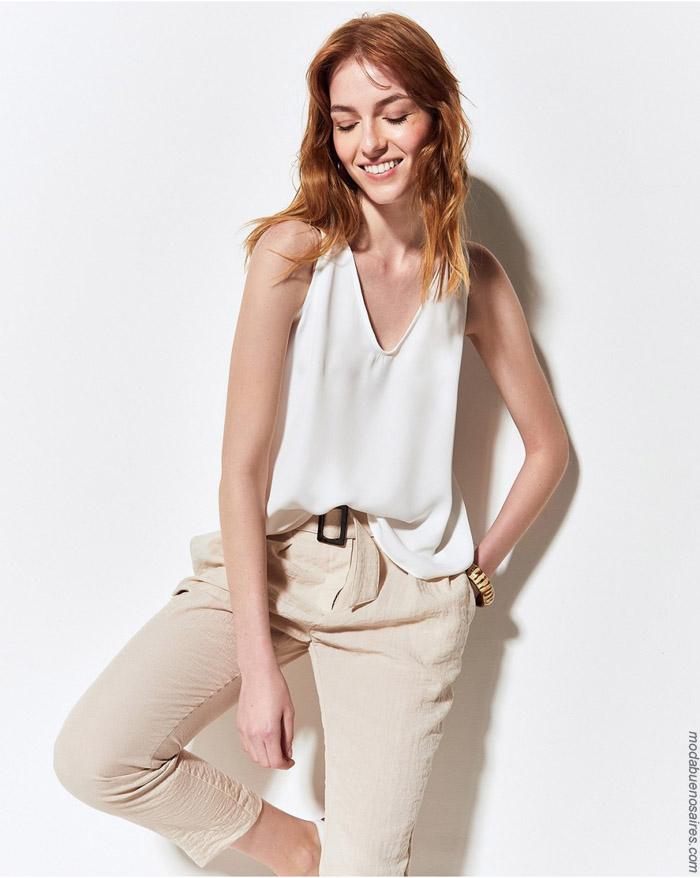Tops y pantalones de lineo primavera verano 2020.