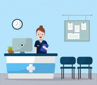 standing nurse hospital reception background 23 2147987275