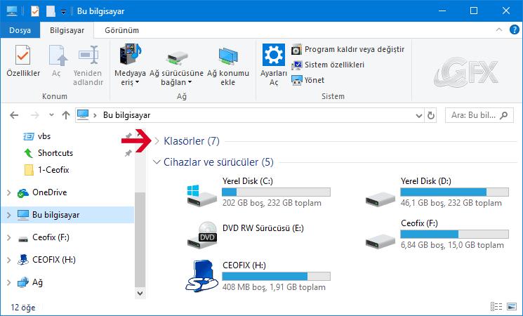 Windows 10'da Bu Bilgisayar Klasörlerini Gizle - www.ceofix.com