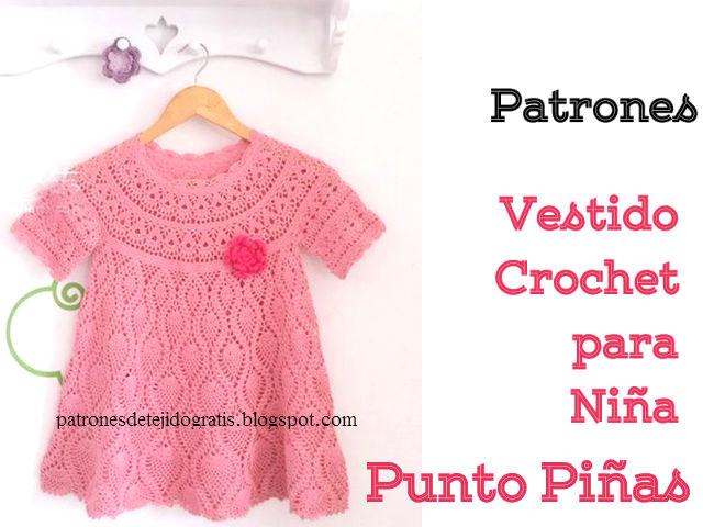 Patrones de vestido crochet para niña en punto piñas / DIY ...