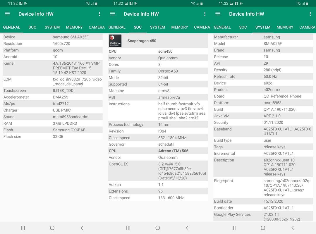 Device Info HW Samsung Galaxy A02s