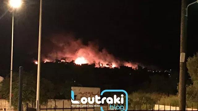 Φωτιά στο Λουτράκι: Κοντά σε σπίτια οι φλόγες - Προληπτική εκκένωση οικισμών (vid)