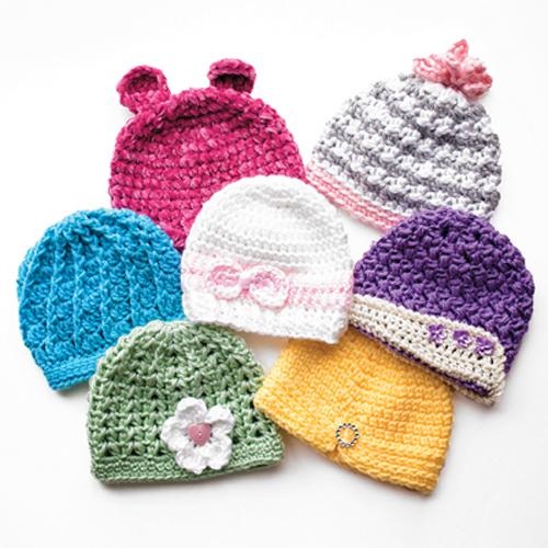 Newborn Girly Hats - Crochet Patterns