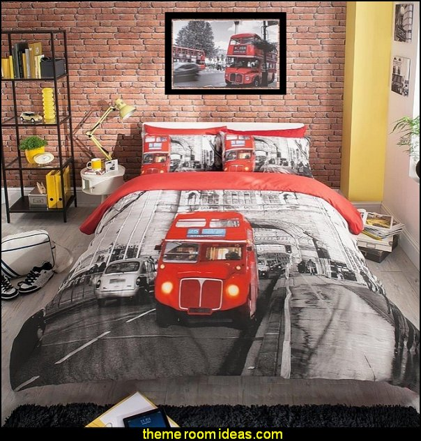 LONDON BUS DUVET COVER QUILT SET urban theme bedrooms travel theme bedroom ideas