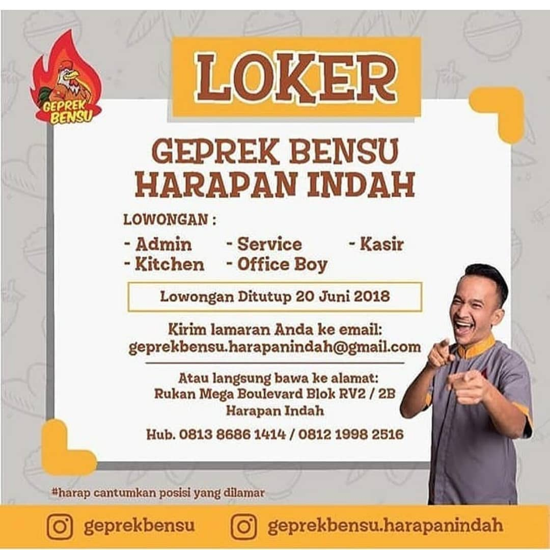 Info Lowongan Kerja Geprek Bensu Harapan Indah Juni 2018 Info
