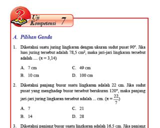 Uji Kompetensi 7 Lingkaran dan Garis Singgung Lingkaran kelas 8 Halaman 113-120
