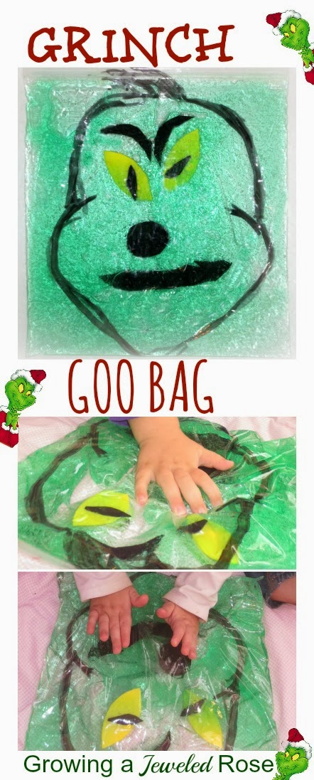 SQUISHY Grinch Sensory Bag for Kids- sensory play with NO MESS!