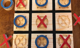 wood tic tac toe game carved with cnc machine