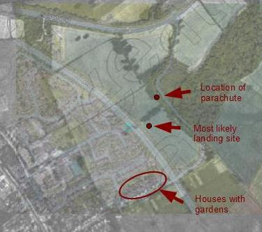 Superimposed images showing Richter's landing site and parachute stash. (Black and white aerial photo from UK Aerial Photos website & modern Google Earth image)