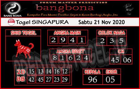 Prediksi Bangbona SGP Sabtu 21 November 2020