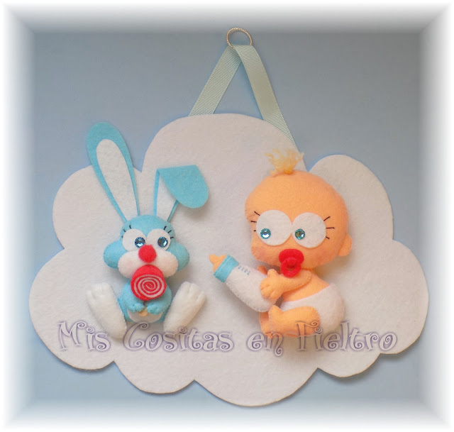 bebé, decoración, baby, animal, cloud, felt, fieltro, nube, adorno de fieltro, niños, habitación, conejo, coello, rabbit, bunny